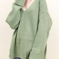 Deep V Cuff Sleeve Sweater