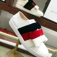 Gucci Women High-end Women's shoes shoes - Flat-bottom casual shoes women Bow Velvet Shoes B-ALS-XZ White/red