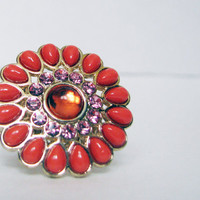 Vintage Retro Oversized Funky Orange/Coral Flower Cocktail Ring with Stretchy Gold Band