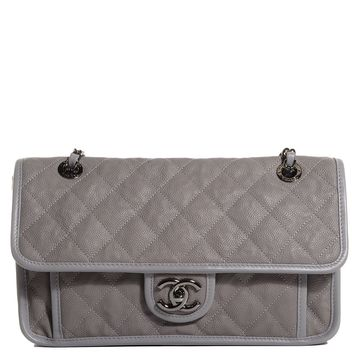 CHANEL Caviar Quilted French Riviera Medium Flap Light Grey