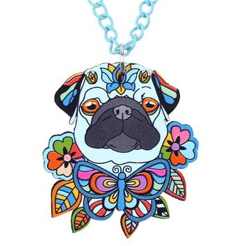 Acrylic French Bull Pug DOG Necklace Cartoon Pendant Chain Collar Choker Pendant  Animal Fashion Jewelry Women Girl New