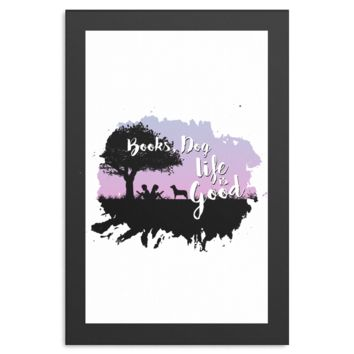 Books, Dog, Life is Good Inspirational Life Quote Canvas Art