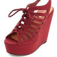 Mesh Cut-Out Lace-Up Platform Wedges by Charlotte Russe - Oxblood