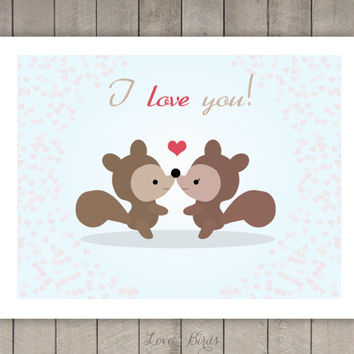 I love you card - squirrel