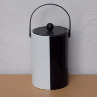 Black and White Tall 1970s Ice Bucket