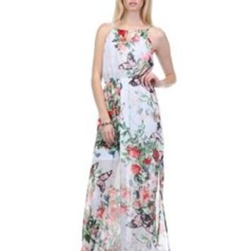 Fate Floral and Butterfly Print Maxi Dress FTP2221