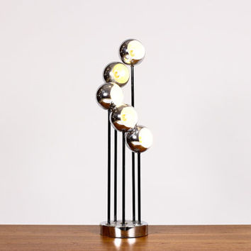 Vintage Mid Century Space Age Chrome Eyeball Table lamp - Five Lights in Cascading Array