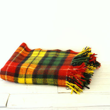 Plaid Wool Stadium Blanket // Green // Yellow // Red // Black