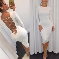 Womens Sexy Backless Bandage Bodycon Evening Party Cocktail MINI Dress Clubwear = 5738022977