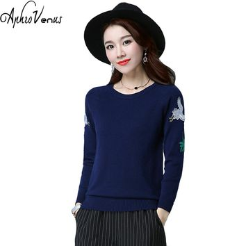 Winter Sweater Women Pullover Blue Warm Sweater Embroidery Elegant Pullover Jumper Knitted Sweater Femme Fall Ponchos VintageTop