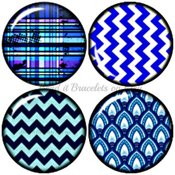Blue Chevron snap charms interchangeable with Noosa or Gingersnap style jewelry. 4 x 20 mm chunk charms