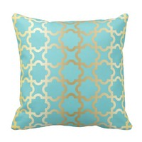 Moroccan gold,mint,tourquise,pattern,girly,trendy, pillows
