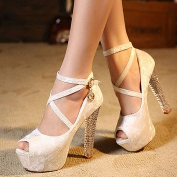 Fashion Round Toe Peep Chunky High Heel Cross Strap White PU Pumps