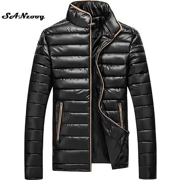 2017 Winter Men New Fashion Brand Ultra light Cotton Jacket Clothing Hombre Stand Slim Thick Warm Dress 4 Colors Coats Plus 4XL