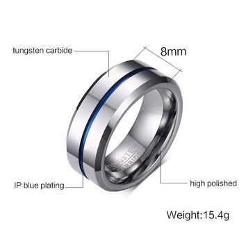 Highly Polished Thin Blue Line 8mm Tungsten Carbide Ring Wedding Band Rings for Men