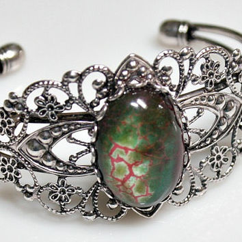 Fire Agate  Bracelet - Silverplated Filigree Bangle - Victorian Style - Oval Cabochon - Medallion - Unique Gift - Green Stone