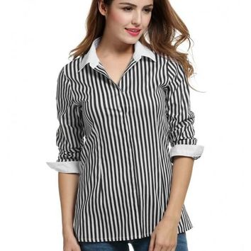 Black Women Stand Neck Button Down Shirts Long Sleeve Striped Slim Casual Tops