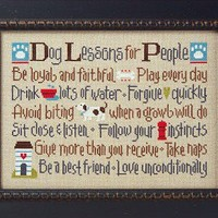 cross stitch pattern : dog lessons for people lizzie kate counted cross stitch diy