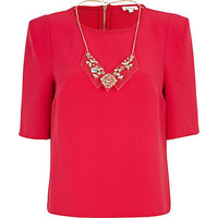 Pink half sleeve perspex necklace top
