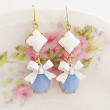 Vintage Periwinkle Blue Jewel with White Enamel Bow and White Square Glass Jewel Dangle Earrings