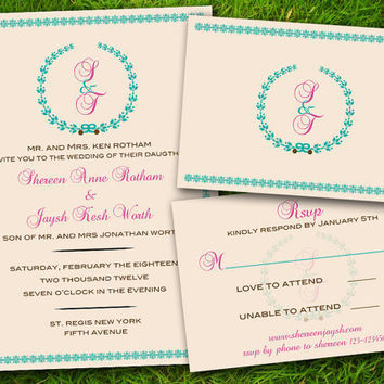 DIY Printable - Bohemian Classic Turquoise Pink Brown Customizable Wedding Invitation Card