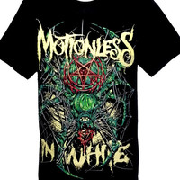 Motionless in White Spider Rock Band Metal Men T Shirts Tee Size M Black Cotton