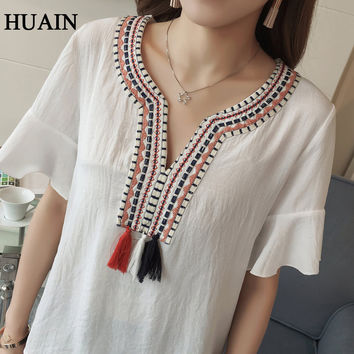 Embroidery Blouse Shirts Women Ethnic Style Linen Blouse Summer 2017 New Ladies Bohemian Pattern Shirt Short Sleeve Female Tops