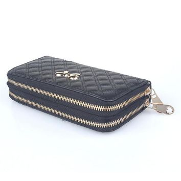 Zipper Xiniu Popular Bow Female Purse Fashion Synthetic Leather Women Double Pull Wallet Credit Card Clutch Carteira Feminina
