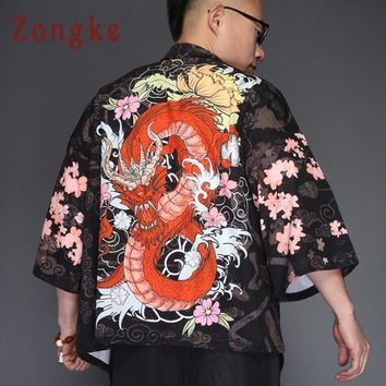 Trendy Zongke Dragon Kimono Jacket Men Japanese Streetwear Kimono Cardigan Jacket Men Black Windbreaker Men Jacket Coat 2018 Summer AT_94_13