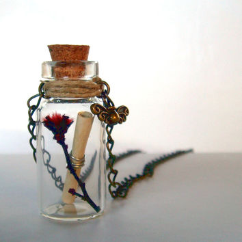 Rustic Bottle Necklace Preserved Nature Message in by CaptureMyArt