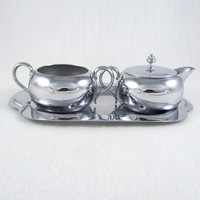 Keystoneware Silver plated Sugar and Creamer with Original Tray