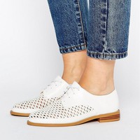 Lost Ink Wide Fit White Woven Flat Shoes at asos.com