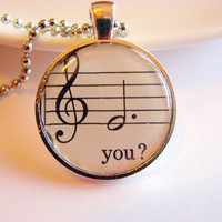 You Pendant Necklace - Vintage Music - Paper Resin and Metal - Retro - With Chain - One of a Kind
