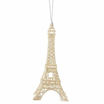 Sparkling Champagne Eiffel Tower Ornament
