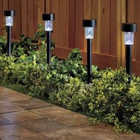 Set Of 4 White Solar Lights Yard Stakes Lawn Garden Pathway Outdoor Home Decor