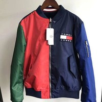 Tommy Jeans 90s Trending Women Men Casual Zipper Sweater Cardigan Jacket Coat Bomber Jacket(Two Side Wear Reversible) I