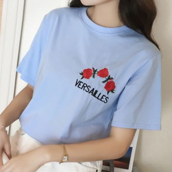 VERSAILLES Fashion Casual Short Sleeve Flower Embroider Tee Top light blue