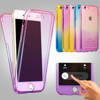 Rainbow 360 Degree Soft Case For iphone 7 Cover Silicone Screen Protector Back Cover For Apple SE 5 5s 6 6s 7 Plus Phone Cases