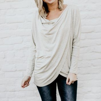 Plan It Out Swoop Neck Top in Oatmeal