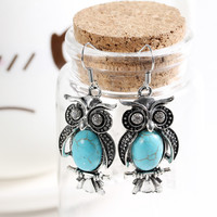 Charming Crystal Tibetan Silver Turquoise Earring Owl Drop Dangle Earrings Christmas Gift for Women Jewelry Big discount jewelry