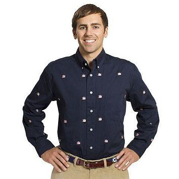 Straight Wharf Button Down in Nantucket Navy with Capitalistic Pigs by Castaway Clothing - FINAL SALE