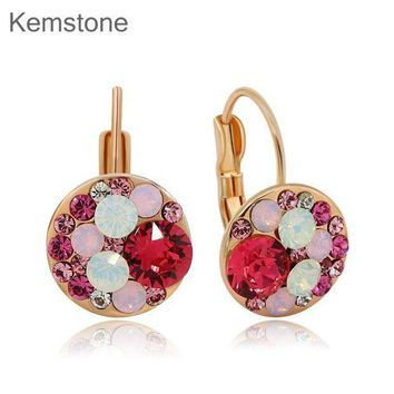 CREY78W Cute Multi Color Rhinestone Round Stud Earrings Gold-color for Women Teen Girl