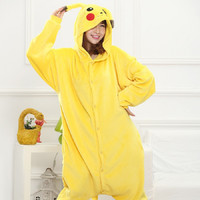 Pikachu Cosplay FlannelWomen and Men Pyjamas Onesuits animals set Pajama Pajamas Christmas panda Pijama flannel pajamas