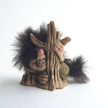 Original Collectible Nyform Troll Doll Boy Peeking Around Tree 840041 with Book