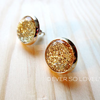 gold stardust skies stud earrings - gold metallic sparkly moon fake plug earrings - summer nights and starry skies