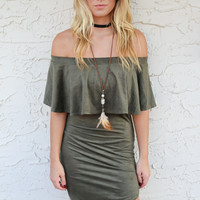 Acapulco Off the Shoulder Suede Mini Dress