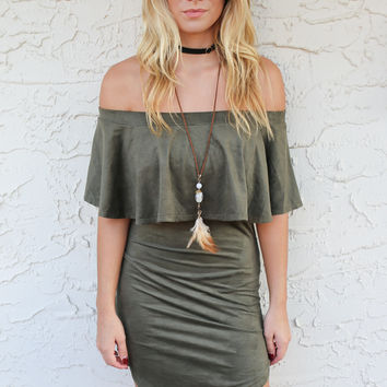 SZ LARGE Acapulco Off the Shoulder Suede Mini Dress
