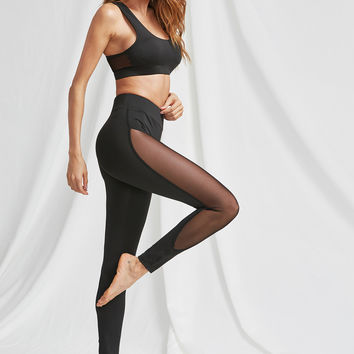 Mesh Panel Sports Bra And Leggings Activewear Set