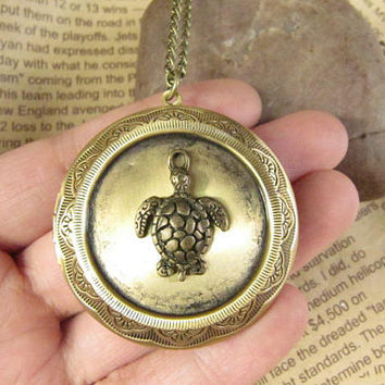 SALE -Wholesale Longevity turtle locket necklace jewelry Gift-Vintage Style