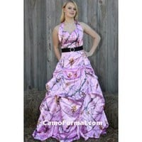 Pink Snowfall Camo Dress with Pickups Camouflage Prom Wedding Homecoming Formals